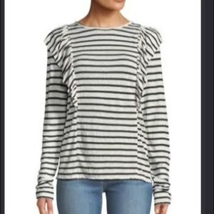 FRAME crewneck striped linen top S NWT
